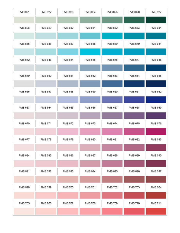 Pantone Colour Chart 10